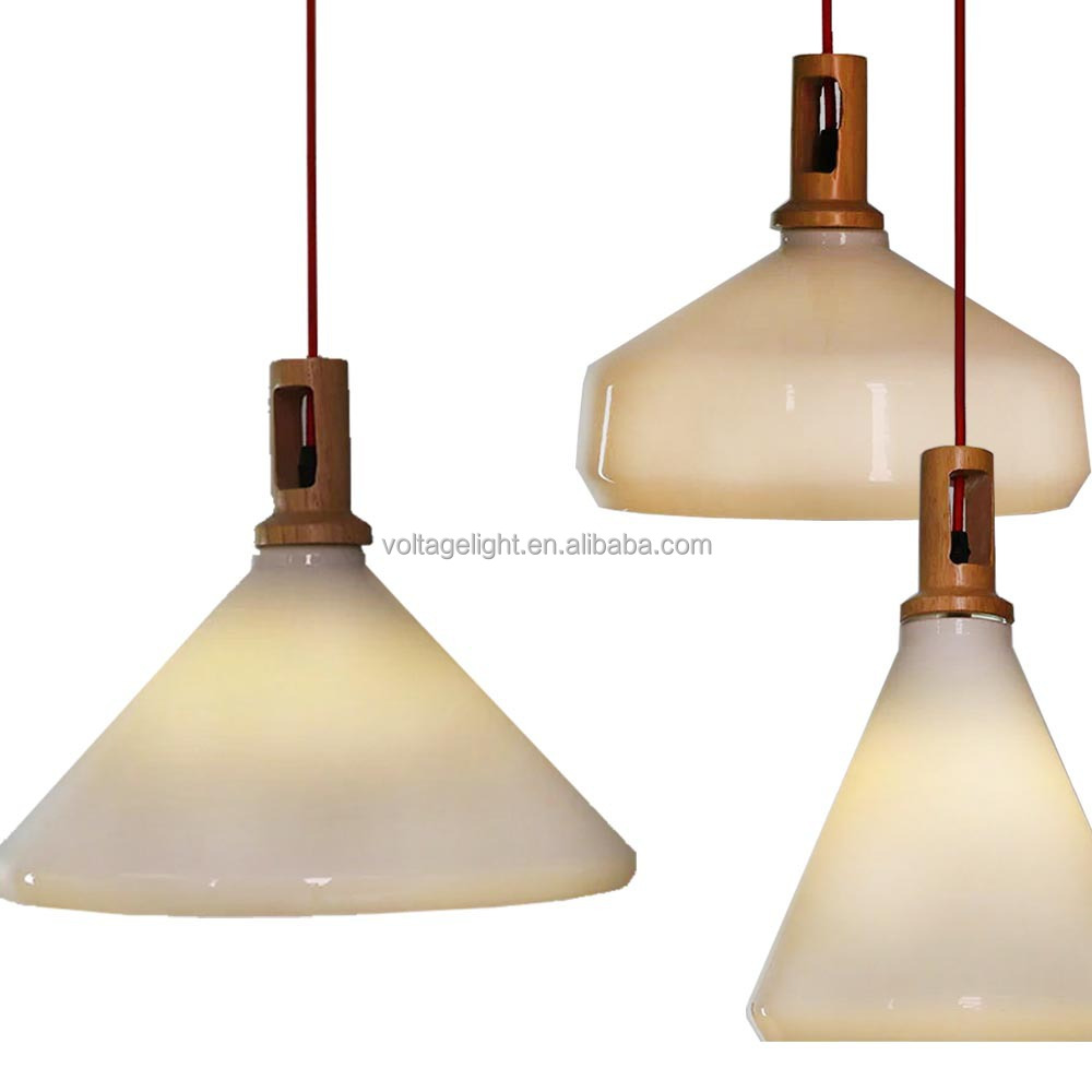 Modern Fancy Opaque Stained White Glass Hanging Lights Wooden ...