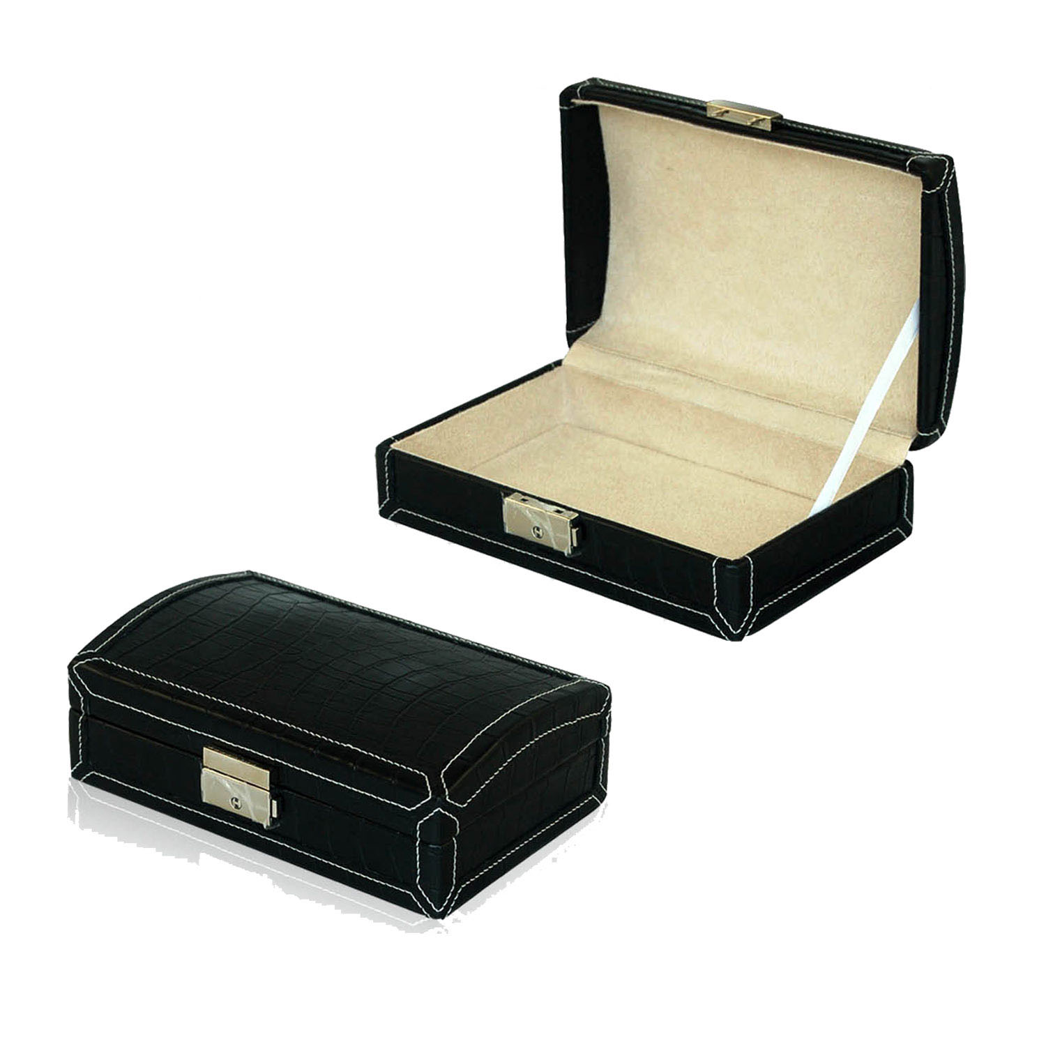 Wholesales Custom Recyclable Classic Wooden Leather Storage Gift Box With Strap