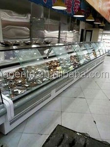 curved glass self service cooked refrigerated meat display cases