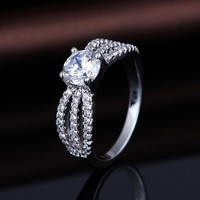18K White Gold Plated Round Diamond Solitaire Promise Rings for Women
