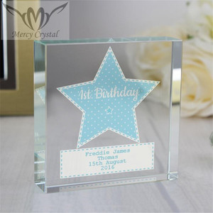 Blue Star Printing Glass Boy Gift for Love Baby Boy Souvenirs