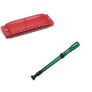 My First Recorder / Harmonica Pack -BPA FREE Green Translucent Recorder w/Red Hohner Harmonica