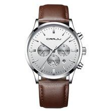 Мужские наручные часы erkek kol saati CRRJU, роскошные кварцевые наручные часы из нержавеющей стали, часы с окошком для даты(Китай)