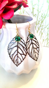 Hydro Emerald Green Leaf Earrings, Boho Chic Leaf Earrings, Leaf Cutout Earrings, Bronze Leaf Earrings with Emerald Earrings