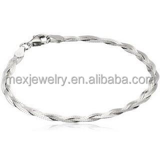 4d2dff5a0033 Men s Pure Sterling Silver Three-Strand Braided Hand Chain Bracelet 925  sterling
