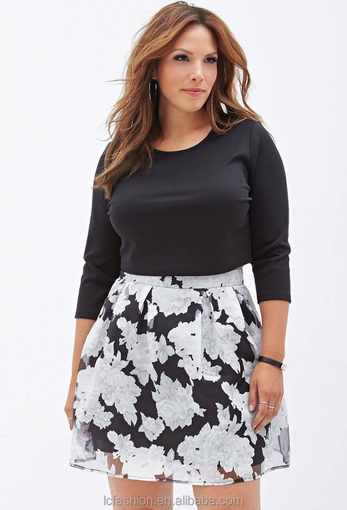 2014 Black & White Floral Printed Skirt Plus Size Women Clothing ...