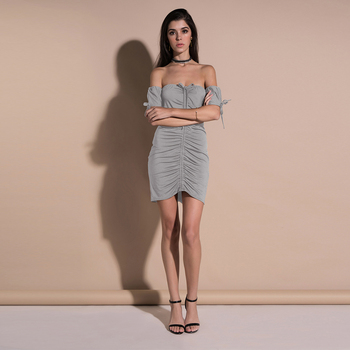 2018 Europe and United State Strapless Short Sleeve Ruched Bodycon Dress