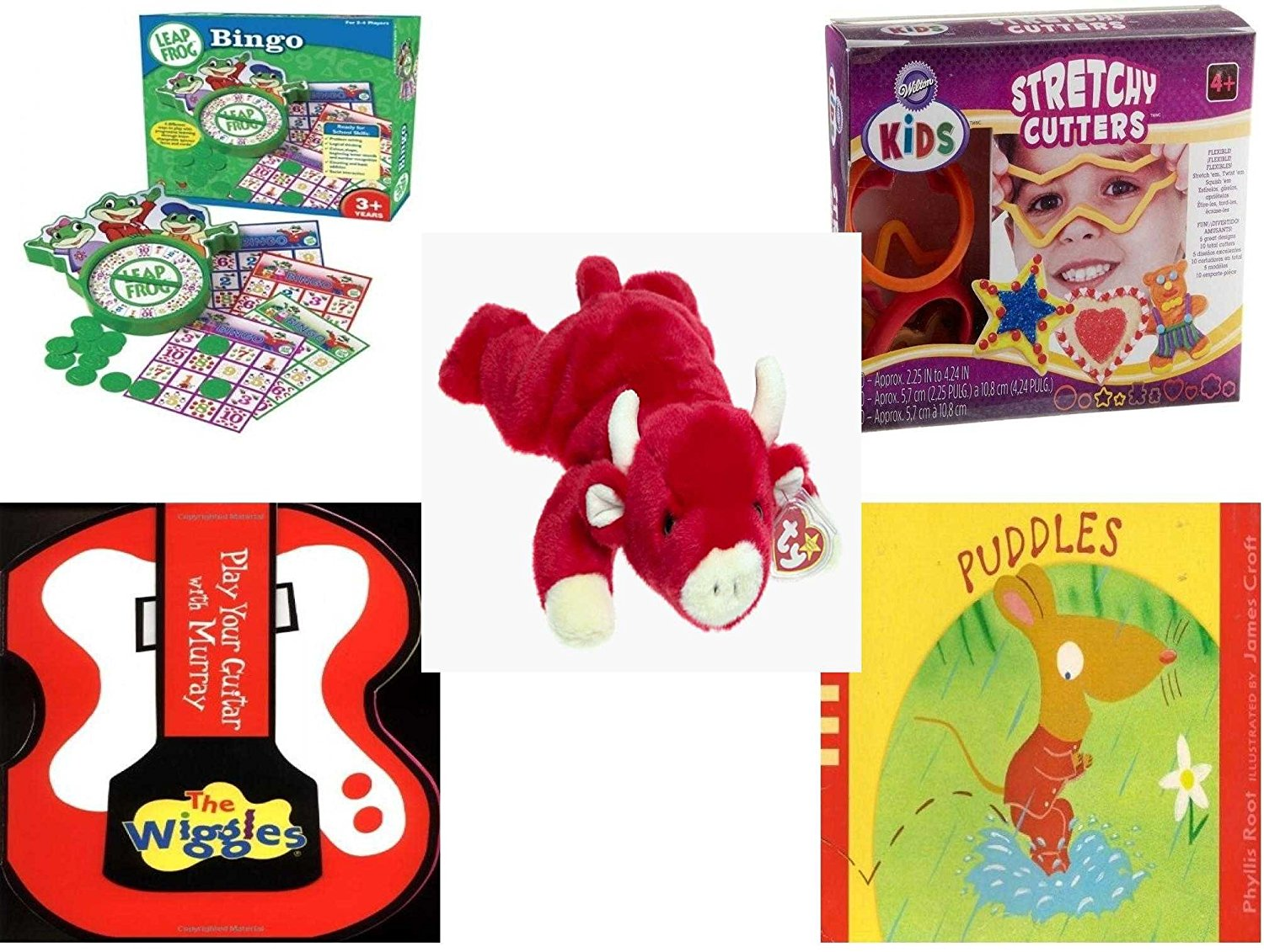 Children's Gift Bundle - Ages 3-5 [5 Piece] - Leap Frog Bingo Game - Wilton Kids Stretchy Silicone Cookie Cutter Set, 10-Piece - TY Beanie Baby - Snort the Bull - The Wiggles Play Your Guitar with M