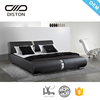 Foshan Modern Black PU Leather Bed Frame, Soft Latest Double Bed Designs Furniture