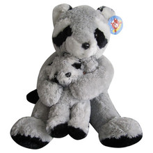 Mother day ideas plush toys cute racoon baby and mom gifts