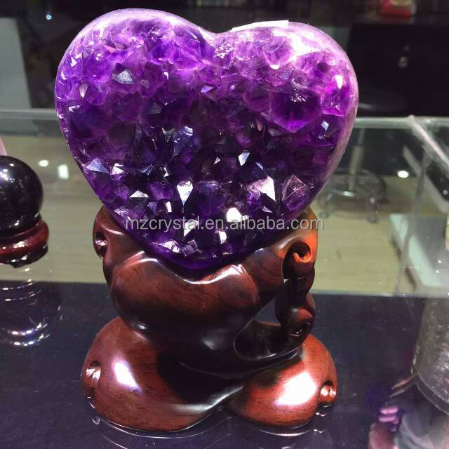 Nature charming amethyst geode heart crystal for home decoration