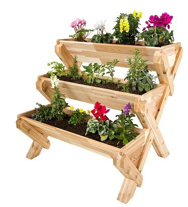 Get Quotations · CedarCraft Cascading Garden Planter   3 Tier Vertical  Garden   Grow Fresh Vegetables, Herb Gardens
