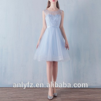 Anly Latest Design Fashion Light Blue Short Lace Bridesmaid Dresses ...