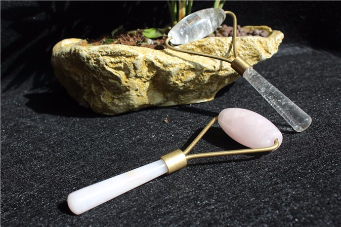 2017wholesale natural rose quartz rolling wands massager healing crystal