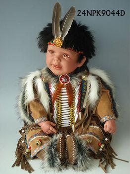 24 Inch 55cm Vinyl Indian Boy Doll American India Native