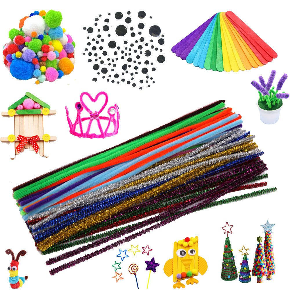 Craft Supplies Pipe Cleaners Set, Including 200 Pcs 10 Colors Chenille Stems, 150 Pcs 3 Size Wiggle Googly Eyes, 200 Pcs Pom Poms and 50 Pcs Craft Sticks for DIY School Art Projects Supplies (600 pcs)