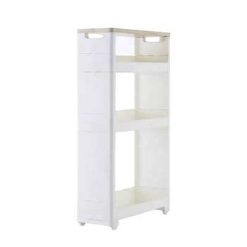 High quality kitchen plastic corner toilet storage shelf with wheels