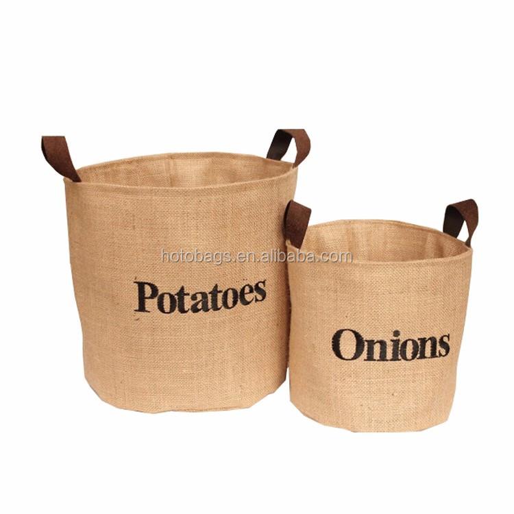 Wholes High Quality Foldable Fabric Home Jute Storage Bin Potato Onion