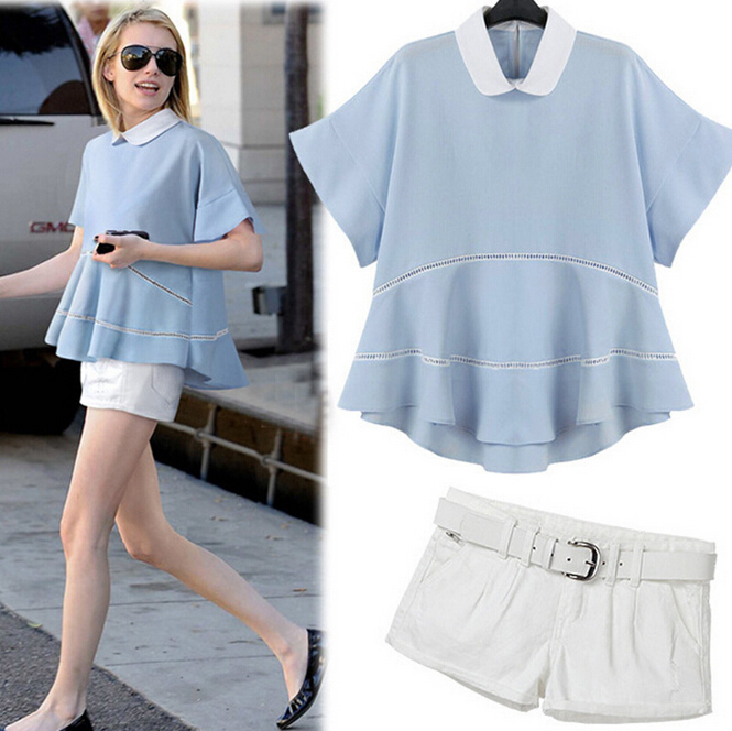 Women Casual Wear Blouse Ladies Office Blouse Shirt And Shorts ...