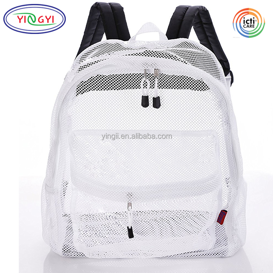 03ac63f943 B366 Large Clear Mesh Backpack Outdoor Transparent