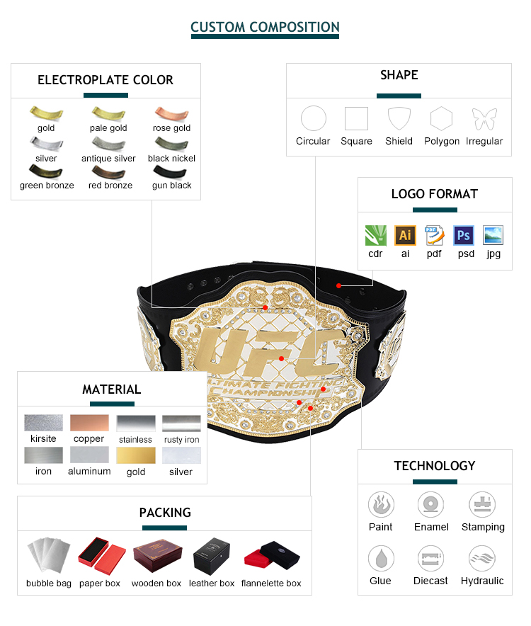 Factory cheap universal boxing metal gold waist belt