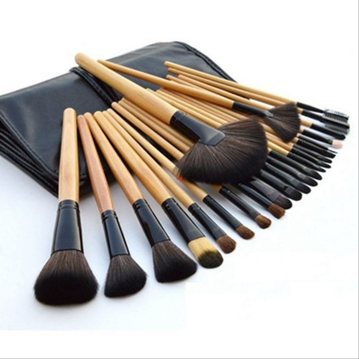 PU pouch goede prijs professionele make-up borstel sets 24 stks cosmetische brush kit gratis monster
