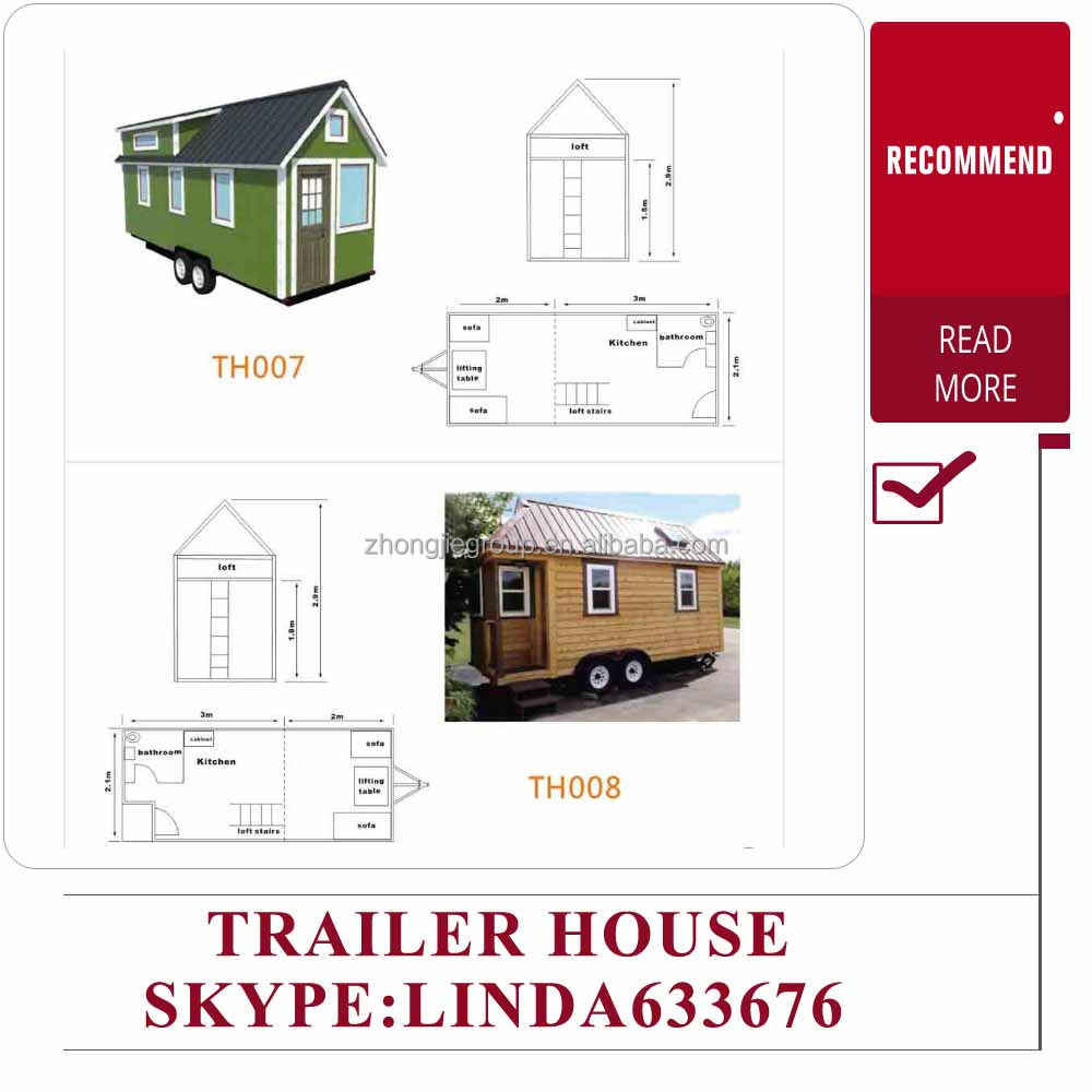 Wooden cabin tiny home trailer house for travel caravan