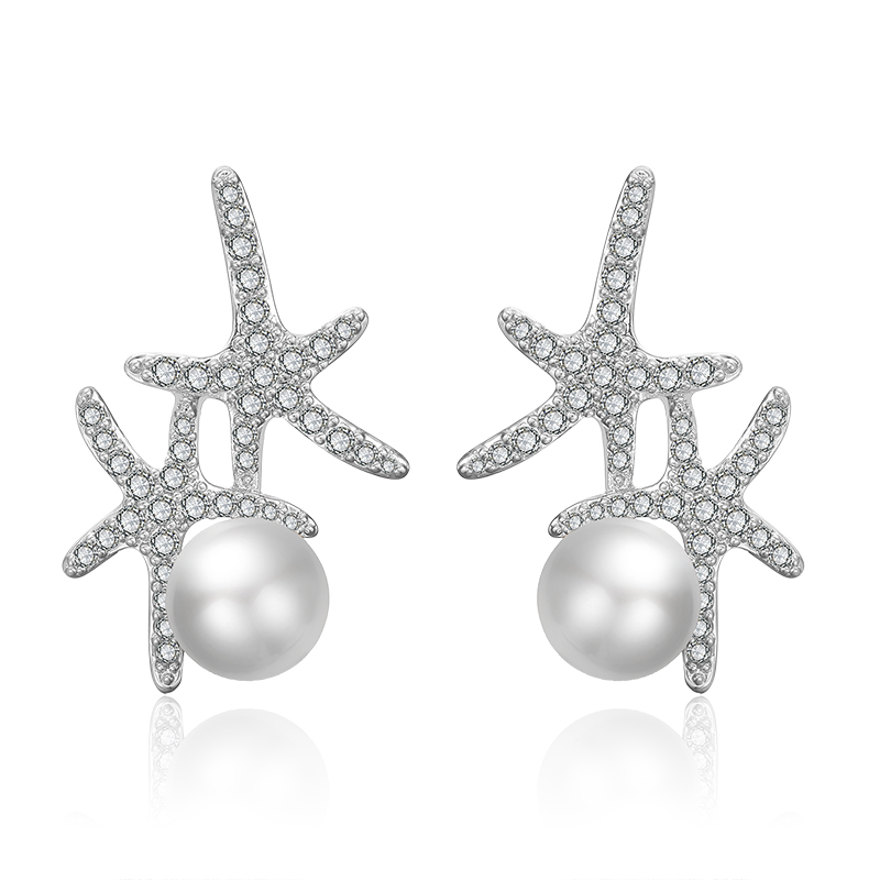 RAKOL E2347 Cute Wedding Bride Imitation <strong>Pearl</strong> <strong>Earrings</strong> Star Zircon <strong>Stud</strong> <strong>Earrings</strong>