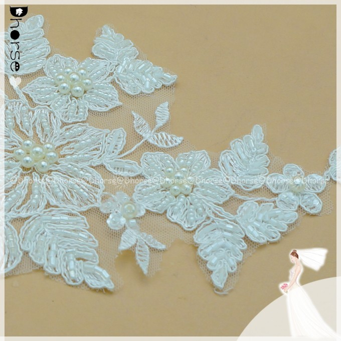 white & ivory flower floral lace fabric bead cords sewing wedding dress leaf appliques DIY Bridal accessory lace applique