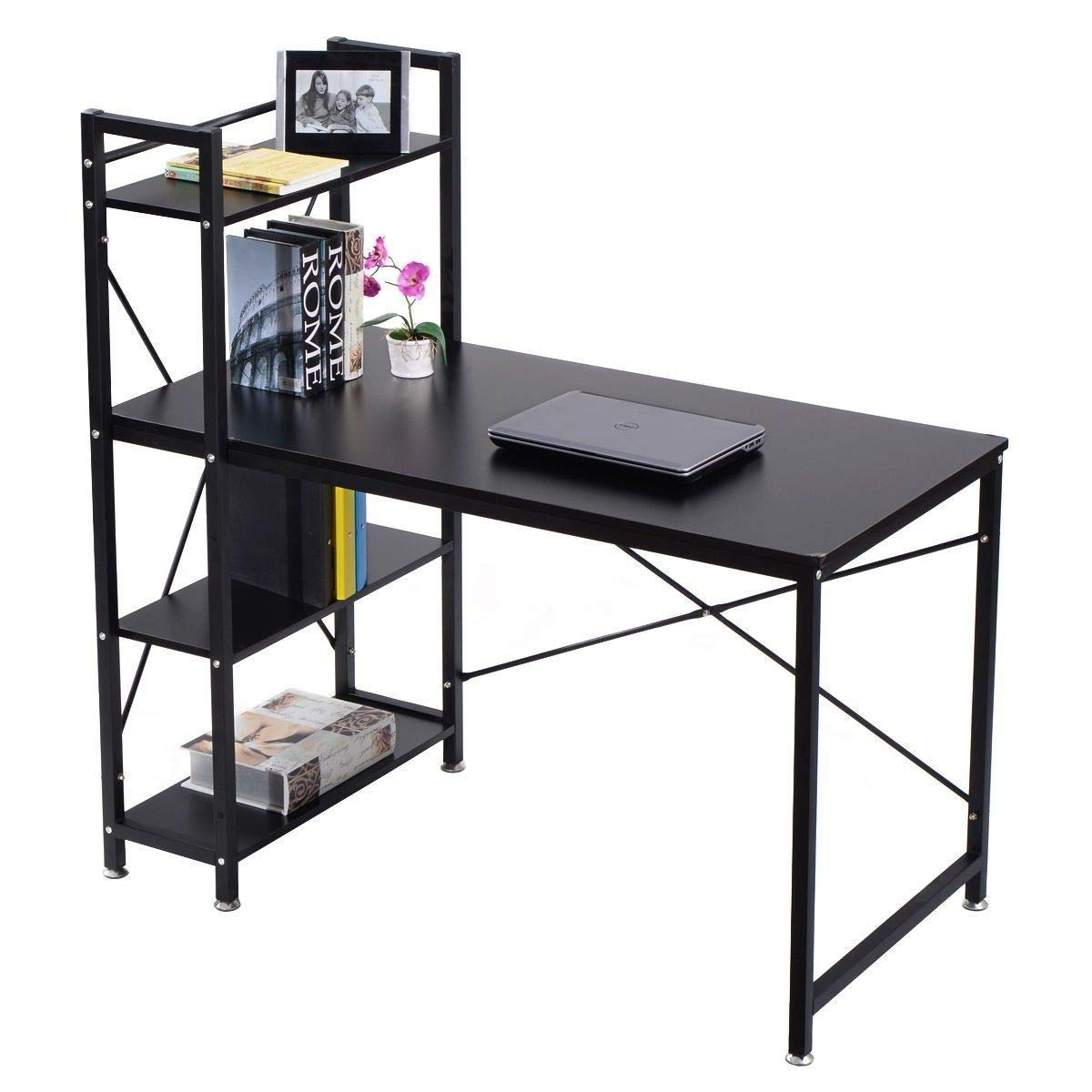 AK Energy Office 4-Tier Side Shelves Extra Space Modern Computer Desk PC Workstation Study Table Home Black Color