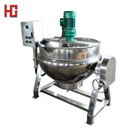 Electric heating tilting jacketed cooking pot / jacket kettle with agitator