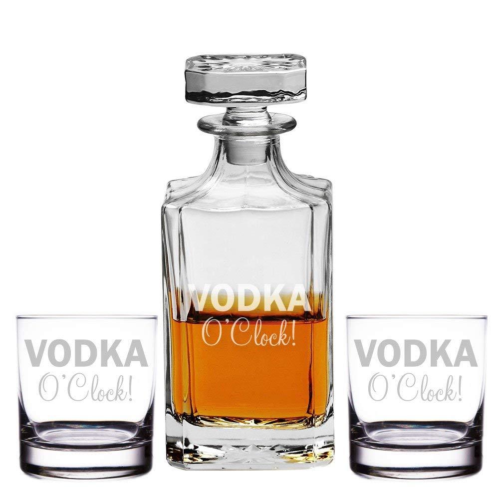 Vodka O'clock Engraved Decanter and Rocks Glasses, Set of 3