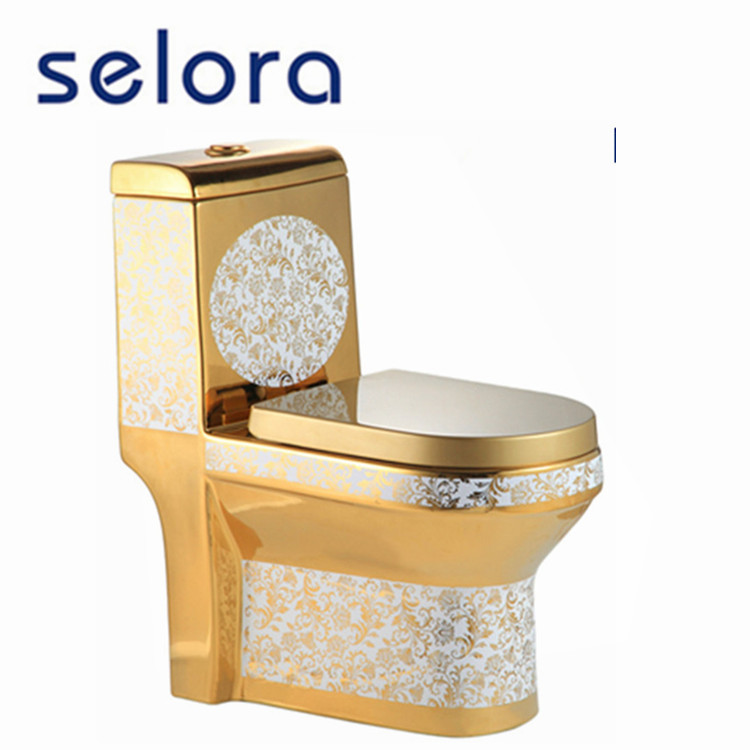Luxury bathroom designs ceramic sanitary ware china gold color toilet prices