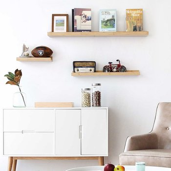 best service 38257 74902 Natural Bamboo Wall Mounted Floating Shelf Shelves For Picture Books  Decorations (wood,Middle) - Buy Wall Mount Floating Shelves,Floating Shelf  With ...