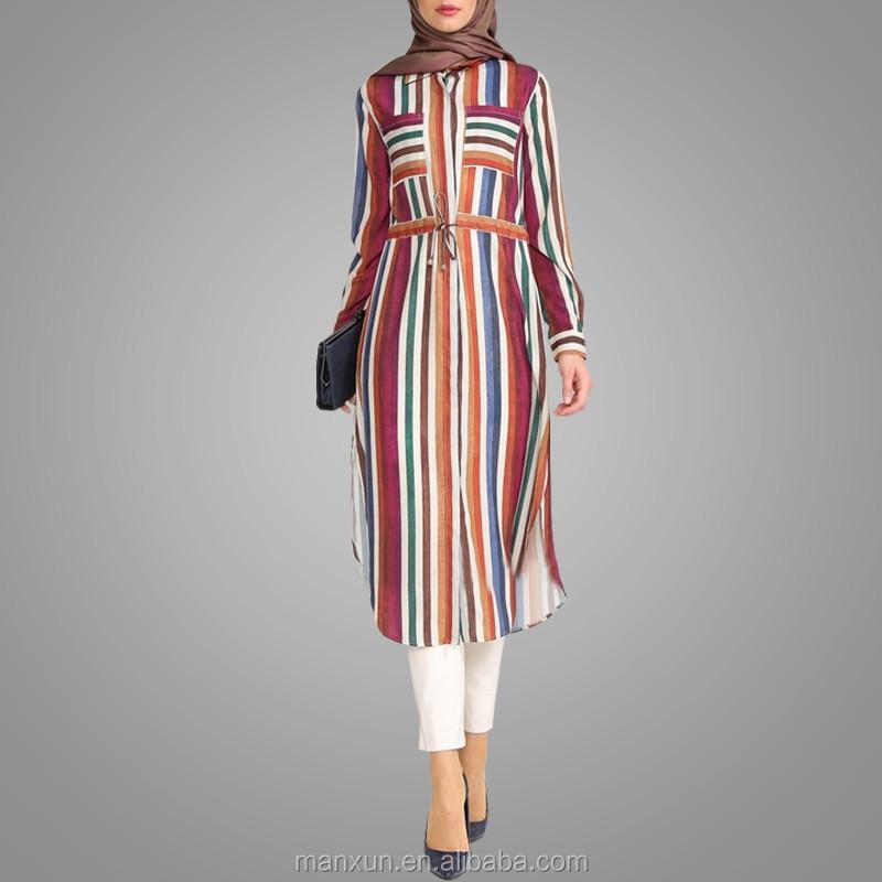 factory price the best free shipping 2016 Women Vertical Stripe Long T-shirt Muslim Tunic Tops Modern Colorful  Islamic Clothing - Buy Modern Islamic Clothing For Women,Muslim Tunic ...