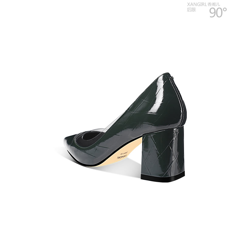 pumps leather Simple genuine women chunky heel shoes design qww1pUS