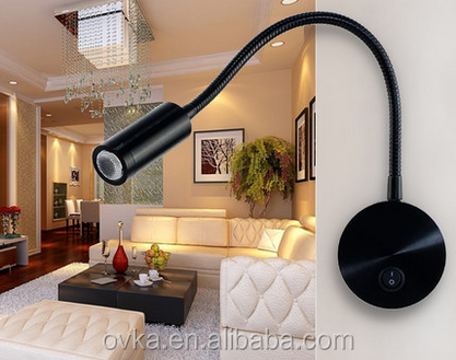 3w gooseneck modern hotel bed reading wall light led wall lamp