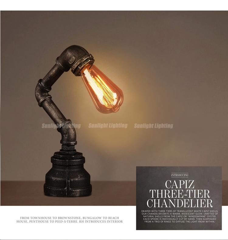Modern Metal Industrial Edison Bulb Vintage Water Pipe Table Lamp ...