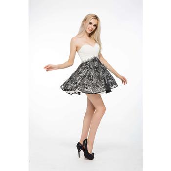 b15459d7d716040 Короткие Вечерние бисером и блестками черные кружевные открытые вечерние  платья