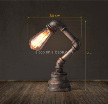 China Lights New Product Vintage Question Pipe Black Metal And Edison Light  Bulb Table Lamp