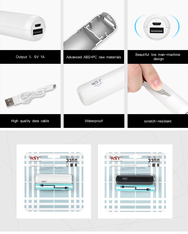 Black or white power bank small , 3350mah Li-ion battery mini power banks portable