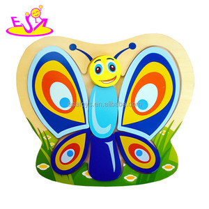 High quality colorful wooden 3d butterfly puzzle for baby W14D065