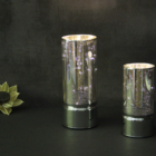 METALLIC SILVER GLASS PILLAR JAR WITH 10 LED MICRO STRING LIGHTS, WARM WHITE, BATTERY OPERATED
