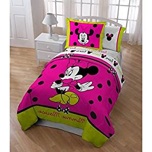 4 Piece Kids Disney Minnie Mouse Themed Comforter Twin Set, Adorable Multi Cartoon Character, Beautiful Pink Printed with Love Reversible Bedding, Abstract Animated Pattern, For Girls, Vibrant Colors