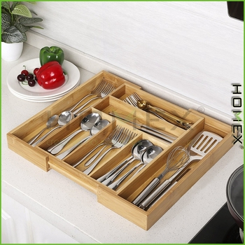 Bamboo Gadget Cutlery Tray Expandable Drawer Organizer Divider Kitchen Utensil Flatware Silverware Holder Stationery Homex Bsci Wooden