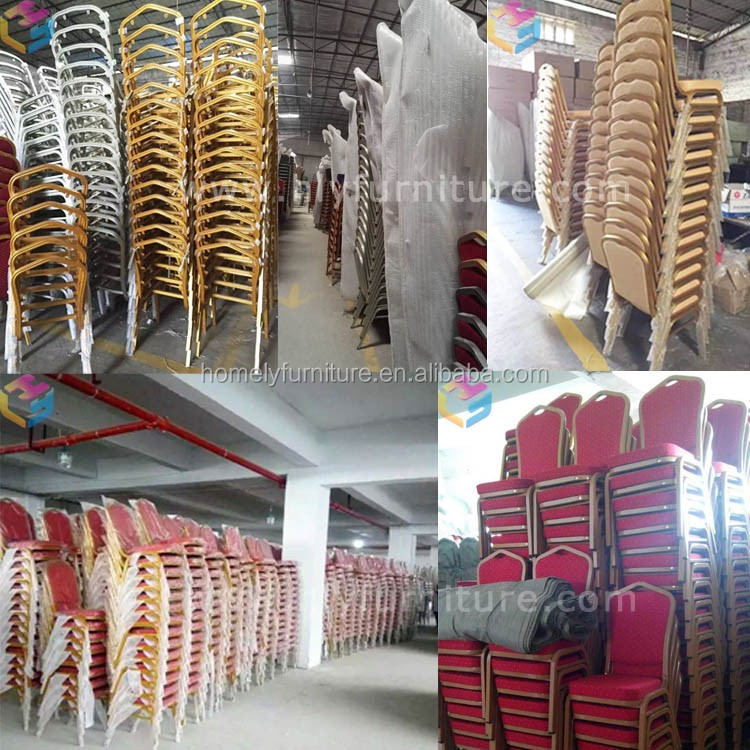 China wholesale cheap used fancy luxury stackable rental gold metal aluminum iron steel hotel hall banquet chairs for wedding
