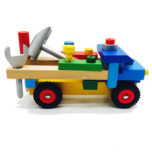 Kids assembling wooden truck tools toy
