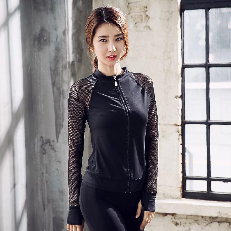China Factory New Long Sleeved Women Yoga Clothes Zipper Jacket Sport Fitness Yoga Coat Wholesale 3