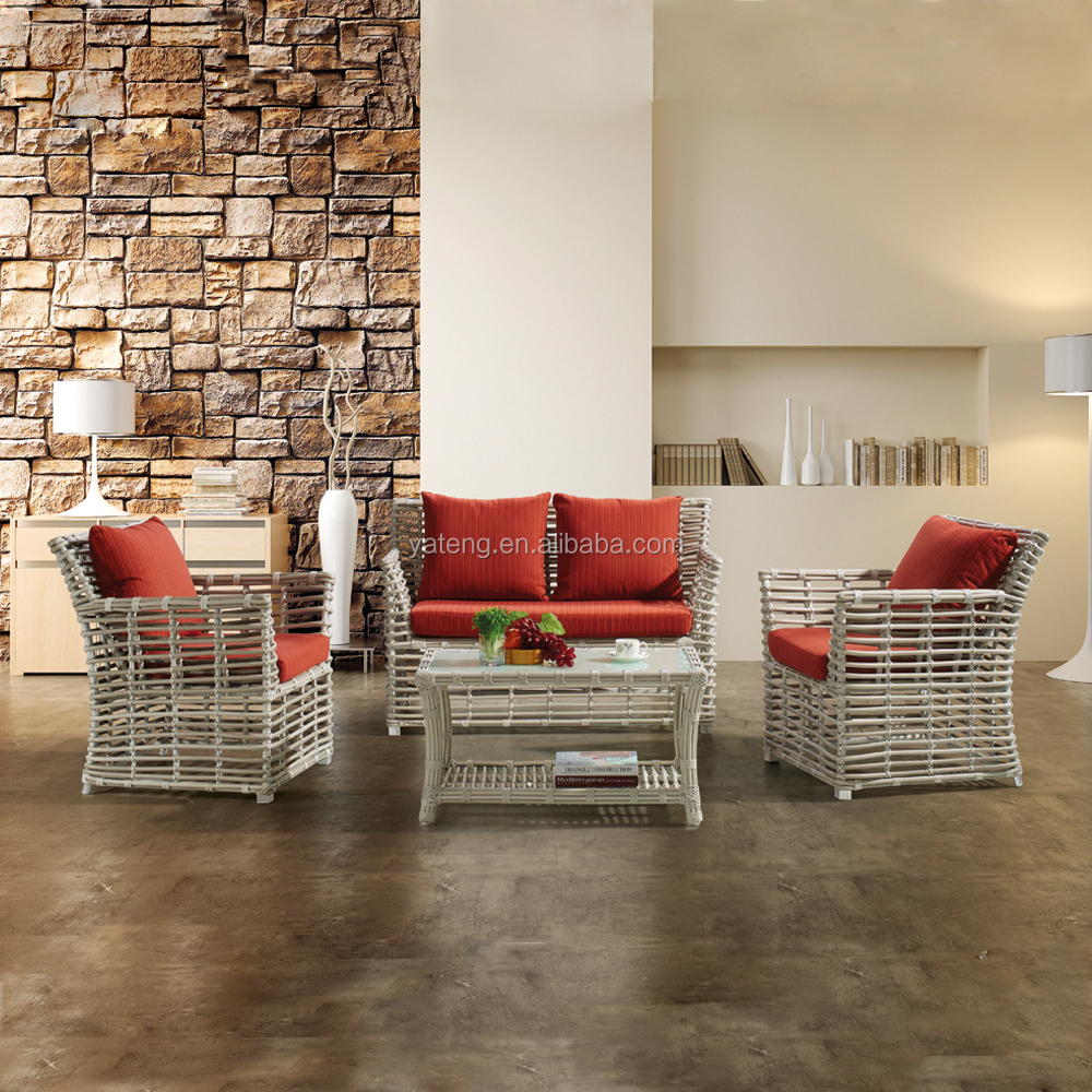 Woven rattan furniture sofa set with cushion covers used living room sofa set designs outdoor furniture