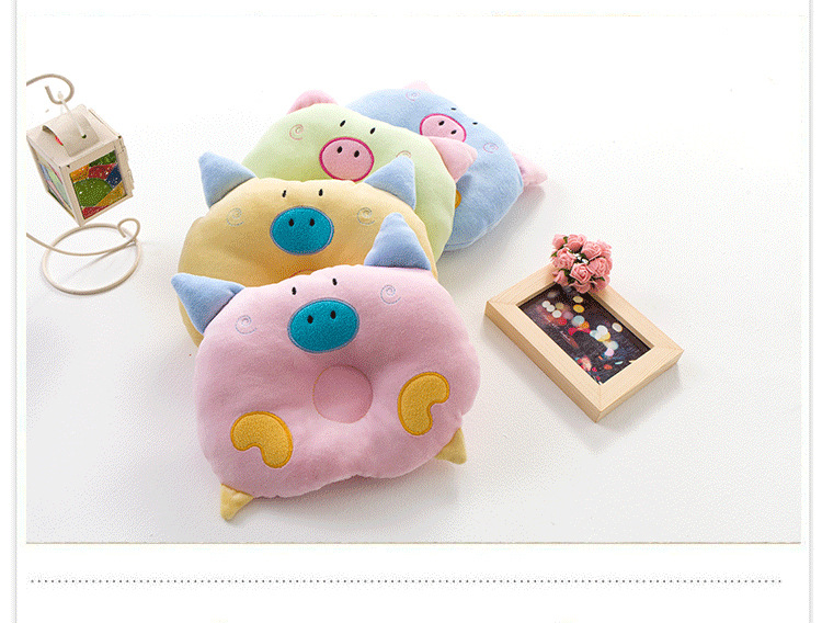 Z0005 Cute Cartoon Velvet Pig Shape Baby Pillow Preventing